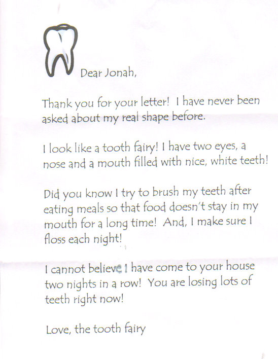 """Dear Tooth Fairy"""" 