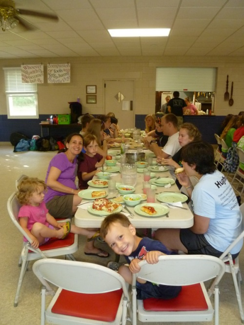 Mealtimes with the staff during pre-camp were great! Now, there are an additional 140 kids in the dining hall for each meal too!!!