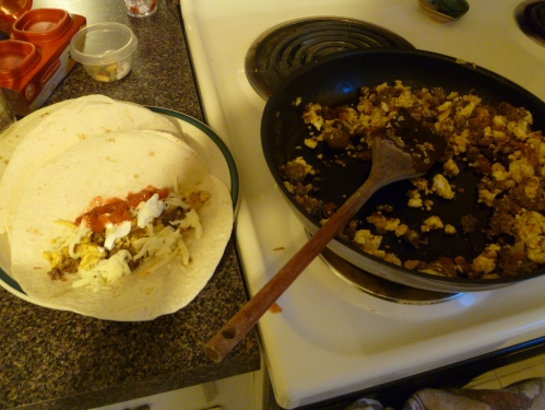 Breakfast burritos for the road!