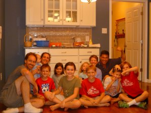 We've enjoyed so many fun nights with these guys...never sitting on the kitchen floor though!